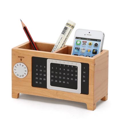 万年历笔筒 商务办公礼品实用 创意时尚办公用品 多功能实木桌面收纳盒摆件