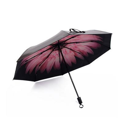 雙層防曬紫外線遮陽傘太陽小黑傘雛菊晴雨傘女三折疊兩用