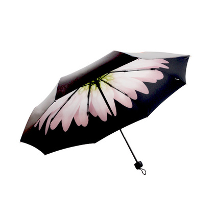 創意三折雛菊小黑傘定制 新款防嗮禮品傘定制