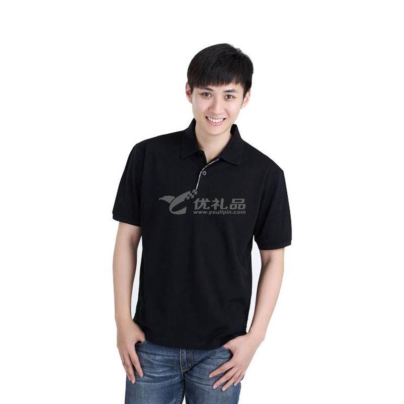 260g纯棉翻领T恤定制 纯色广告衫文化衫企业工服印logo