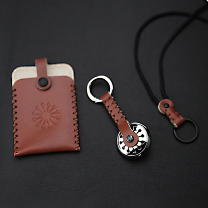 開了出品 創意文藝蒲公英香氛鑰匙扣+手工皮質卡套門禁卡套