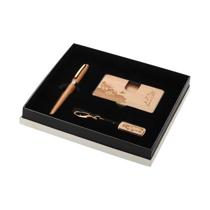 新款紅木禮品 竹質名片夾筆8GU盤商務禮品三件套裝