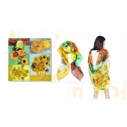 梵高油畫風格100%桑蠶絲雪紡絲巾135*135cm