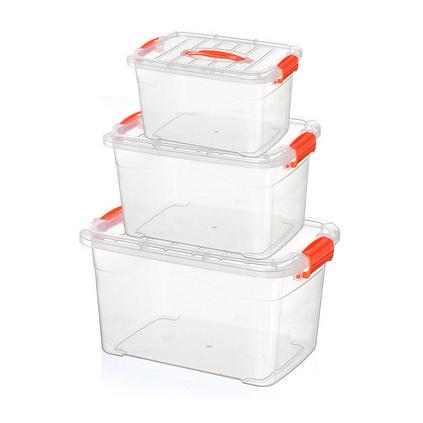高透明塑料手提整理箱 家居储物收纳箱 小号