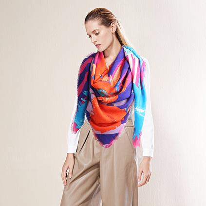 梵高的向日葵新款油畫風格羊毛圍巾女士大方巾披肩圍巾兩用