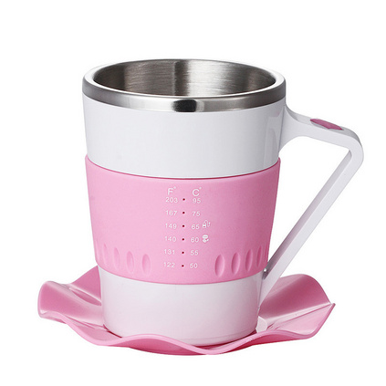 創意智能咖啡杯 led燈不銹鋼溫度顯示咖啡杯