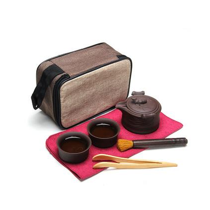 紫砂快客杯一壶二杯便携旅行茶具 旅行包加杯盘