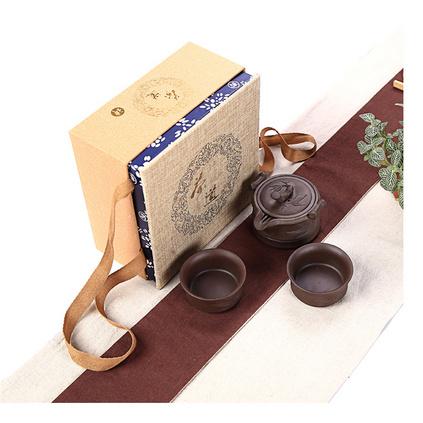 紫砂快客杯一壺二杯便攜旅行茶具 旅行包加杯盤