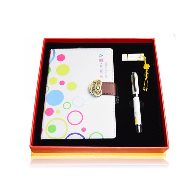 商务办公礼品套装笔记本丝绸记事本定制logo复古空白本文具本子