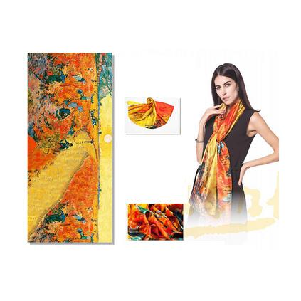 梵高油畫風格100%桑蠶絲雪紡絲巾200*88cm