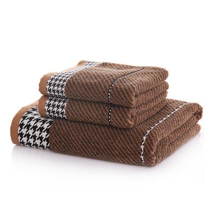 千鳥格套巾 一浴巾二毛巾純棉套巾