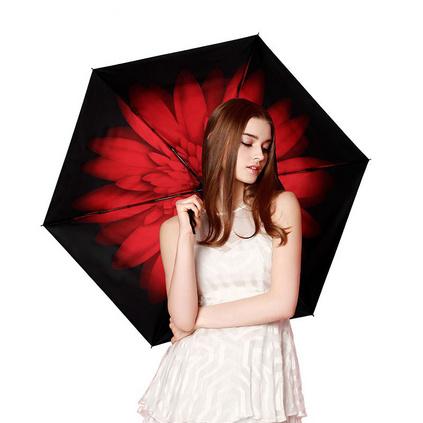 天堂傘雛菊綻放超輕小黑傘黑膠防曬折疊晴雨傘太陽傘