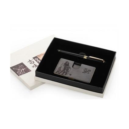 新款創意紫光檀黑檀木名片盒筆二件套