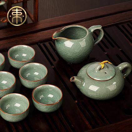 束氏 哥窑功夫茶具套装 哥窑茶壶茶杯公道杯品茗杯整套茶具套组