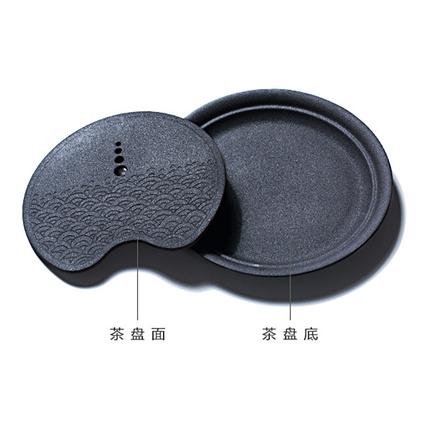 圓形粗陶茶盤 陶瓷茶海小茶臺茶具套裝大號紫砂壺承儲水簡約排水