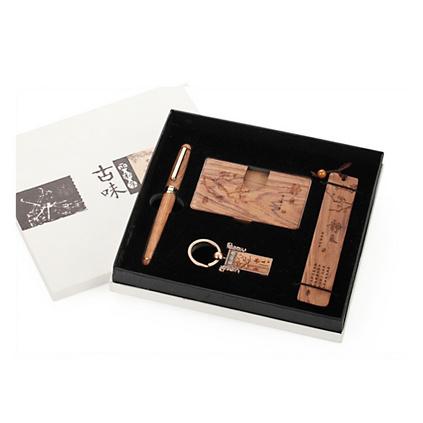 創意商務禮品套裝 巴西花梨木書簽名片盒筆鑰匙扣四件套