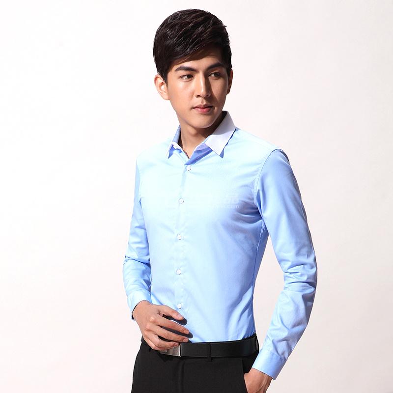 男士長袖襯衫商務修身職業正裝免燙男士襯衫團體定制