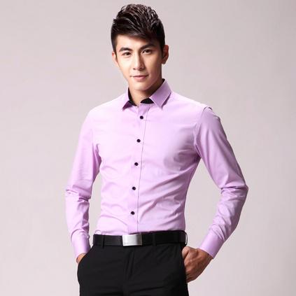 男士长袖薄款纯色衬衫 商务修身男士衬衫 团体制服亚博体育app下载地址