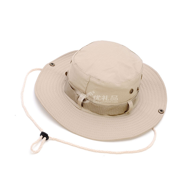 奔尼帽米色大檐帽 圓邊帽格子布男女登山戶外漁夫帽子遮陽帽定制