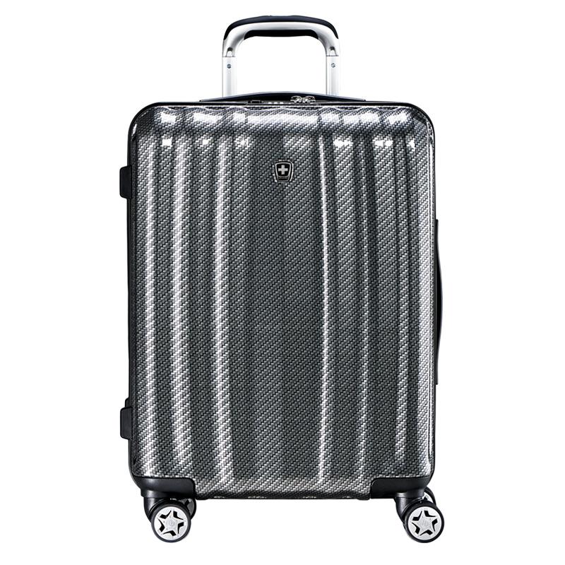 瑞动SWISSMOBILITY 20寸商务新时尚登机箱全新PC+ABS商务旅行箱行李箱 黑底银白编织纹 20寸登机箱定制