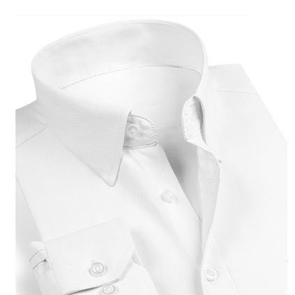 商務修身男式長袖襯衫 高檔免燙職業裝白色襯衫