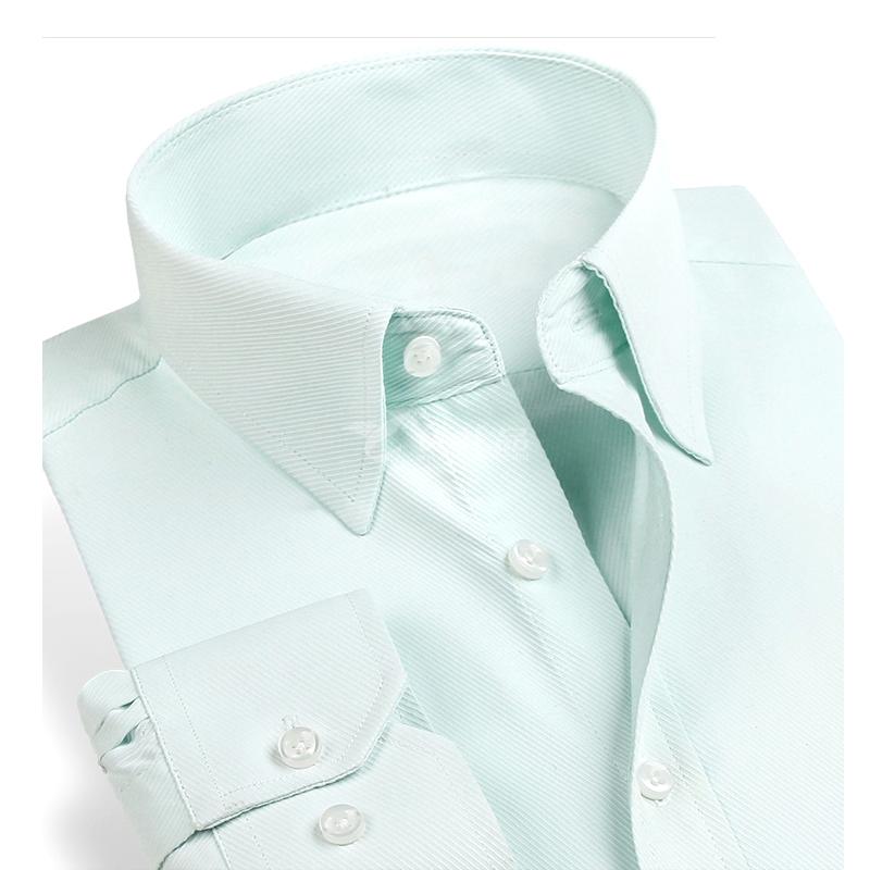 商务修身男式长袖衬衫 高档免烫职业装白色衬衫