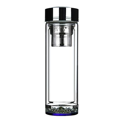 便攜玻璃杯 商務玻璃水杯 雙層隔熱茶杯 禮品杯子380ml定制