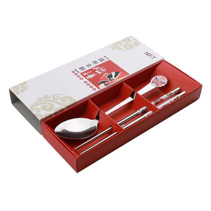 中國風京劇臉譜不銹鋼餐具兩件套定制