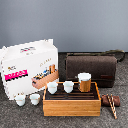 九頭裝竹制茶具套裝 整套便攜 木制瓷車載功夫茶具竹制茶盤樂意定制