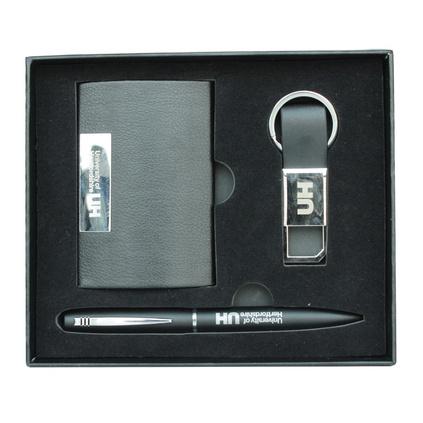 名片夾簽字筆鑰匙扣三件套商務禮盒定制
