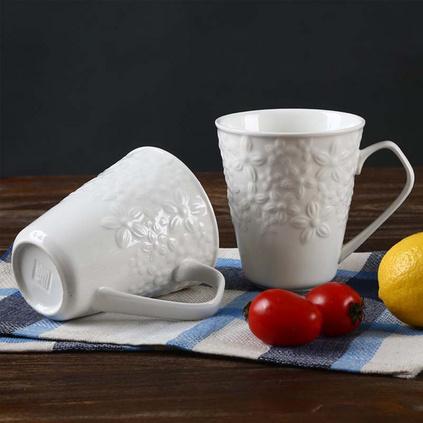 順祥陶瓷 12安士口杯定制耐高溫  純白 無毒無害