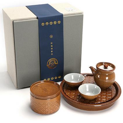 五行粗陶茶具簡約日式功夫茶具套裝一壺兩杯茶盤禮盒金木水火土定制