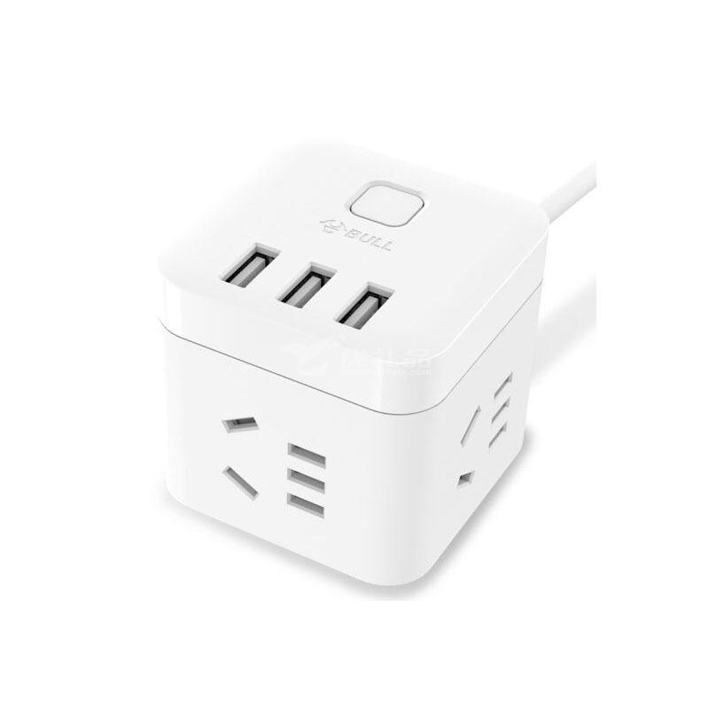 公牛(BULL)GN-U303U 魔方USB插座 全長1.5米插線板 3USB接口+3插孔、小巧便攜