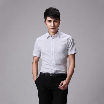 男裝職業白襯衫 商務正裝襯衣 修身方領短袖襯衫
