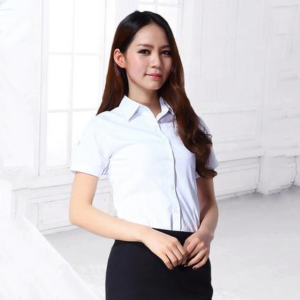 女装短袖衬衫 女士衬衣商务修身职业女衬衫