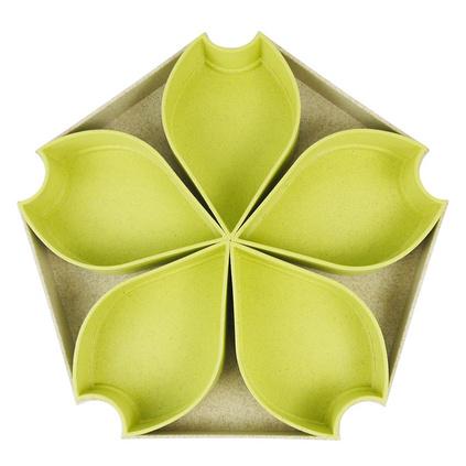 第6金 麦秸秆花型果盘套装 多功能茶果盘 零食、点心盘 素制SZ09