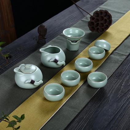 德化陶瓷 亞光功夫茶具汝窯茶具整套功夫茶套裝茶壺茶杯蓋碗開片龍泉青瓷家用陶瓷套裝定制