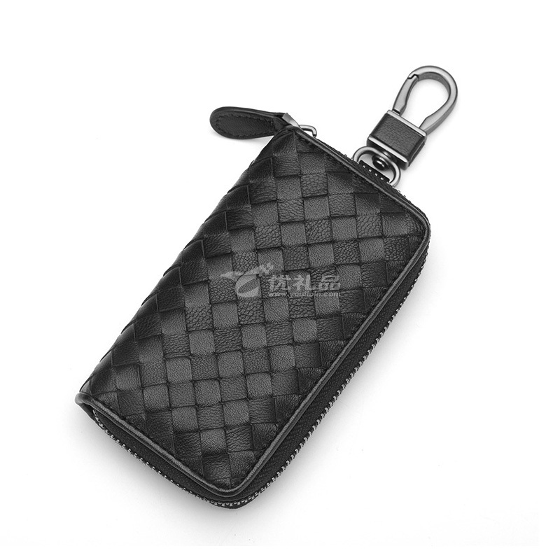 真皮羊皮编织汽车钥匙包扣男女情侣大容量锁匙包拉链卡包小手包潮