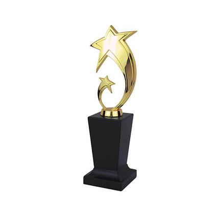 金属奖杯定制 立体双星实心锌合金奖杯 奖品定制