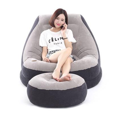 pvc單人充氣午休沙發成人陽臺躺椅植絨懶人充氣沙發