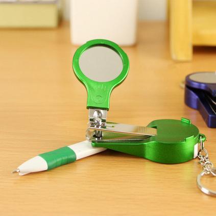 多功能指甲剪镜子笔 美甲工具圆珠笔 圆形镜子指甲钳圆珠笔