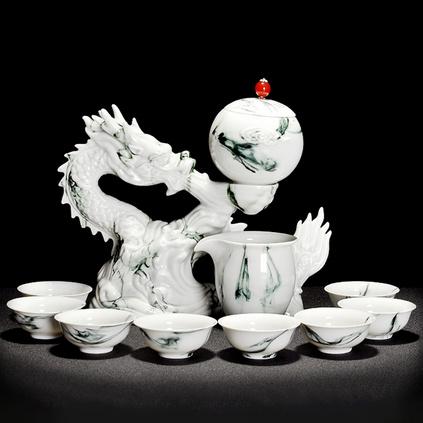 10頭祥龍戲珠玉石自動茶具 雕刻騰龍水墨半自動出水功夫茶具  陶瓷旋轉蓋碗 泡茶器