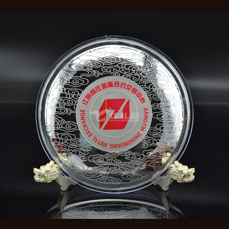999純銀銀盤定制尺寸重量圖案個性化定制貴金屬紀念盤定制