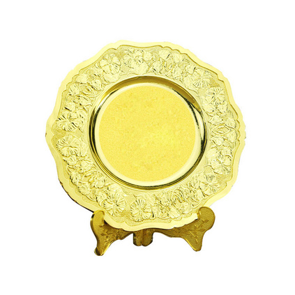 金屬紀念盤定制鋅合金雙色企業授權圓形獎盤定做獎杯金箔獎牌訂制