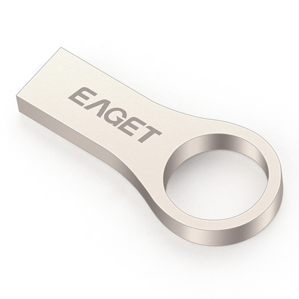 忆捷(EAGET) U66-16G USB2.0高速防水防尘防静电全金属指环U盘 珍珠镍色
