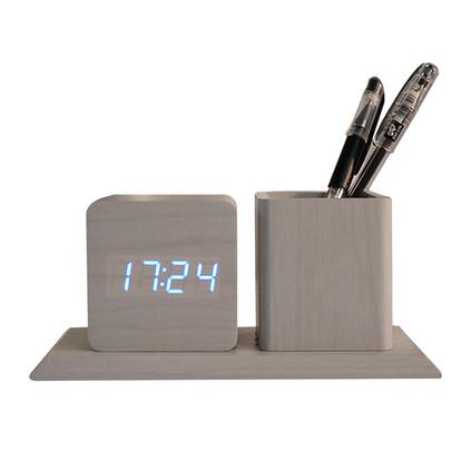 创意木头时钟笔筒闹钟 静音 亮度自动调节 万年历懒人木质闹钟