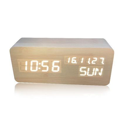 LED木頭鐘 智能聲控時鐘 創意禮品多功能電子鬧鐘 座鐘