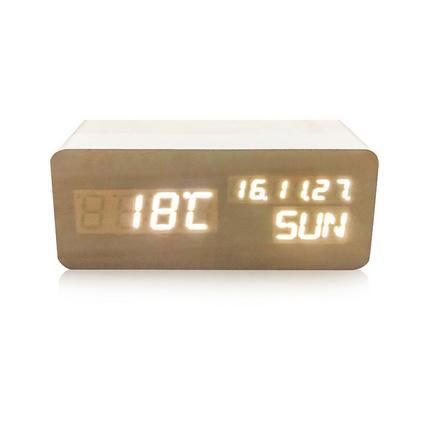 LED木头钟 智能声控时钟 创意礼品多功能电子闹钟 座钟
