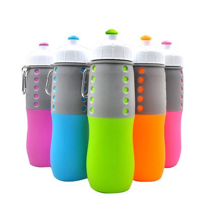 實用便攜折疊水壺 戶外運動硅膠水壺 新款使用便攜水壺