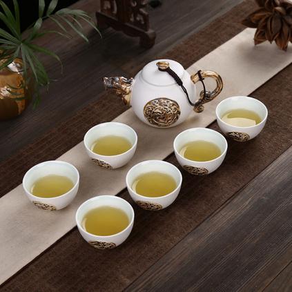 陶瓷茶具祥龙送福一壶六杯功夫茶具套装
